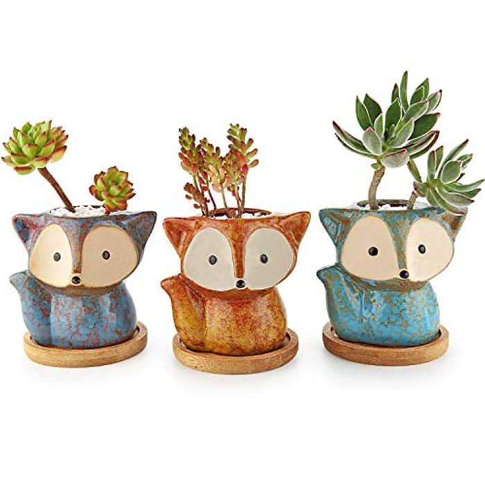 T4U Ceramic Succulent Planter Pot, Fox Shaped Cute Cactus with £10 off Coupon