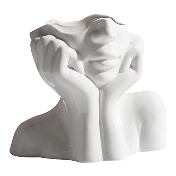AIflyMi Eramic Flower Vase Art Deco - Ceramic Minimalist with £5 off Coupon