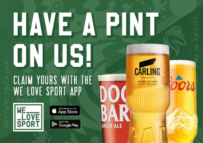 Free Pint at Pubs Nationwide with We Love Sport App