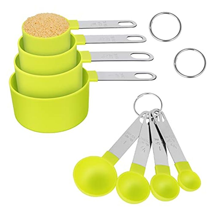 4 Measuring Cups, 4 Measuring Spoons, Stainless Steel Handles - Only £3.99!