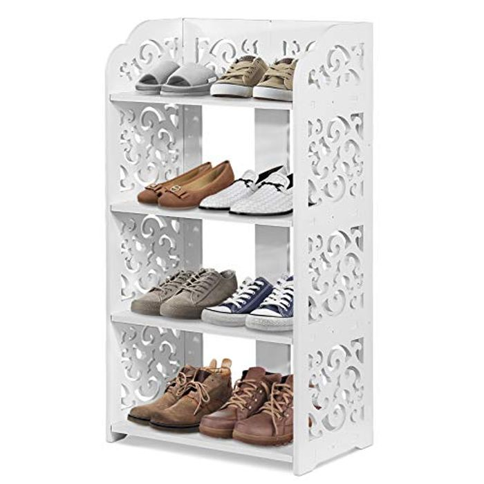 4 Tier Shoe Rack, White Shoe Rack Storage Shelf - Only £8.35!