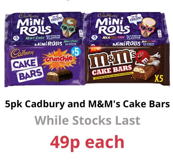 Cadbury & M&Ms Cake Bars - Just 49p at Farmfoods!!