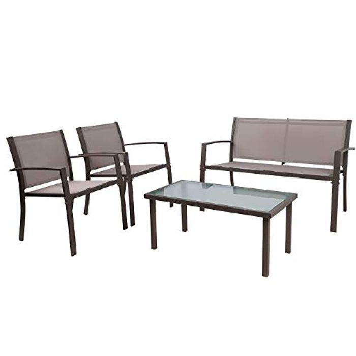 4 Pieces Patio Furniture Set Glass Table with 3 Sofa Chairs - Only £75.90!