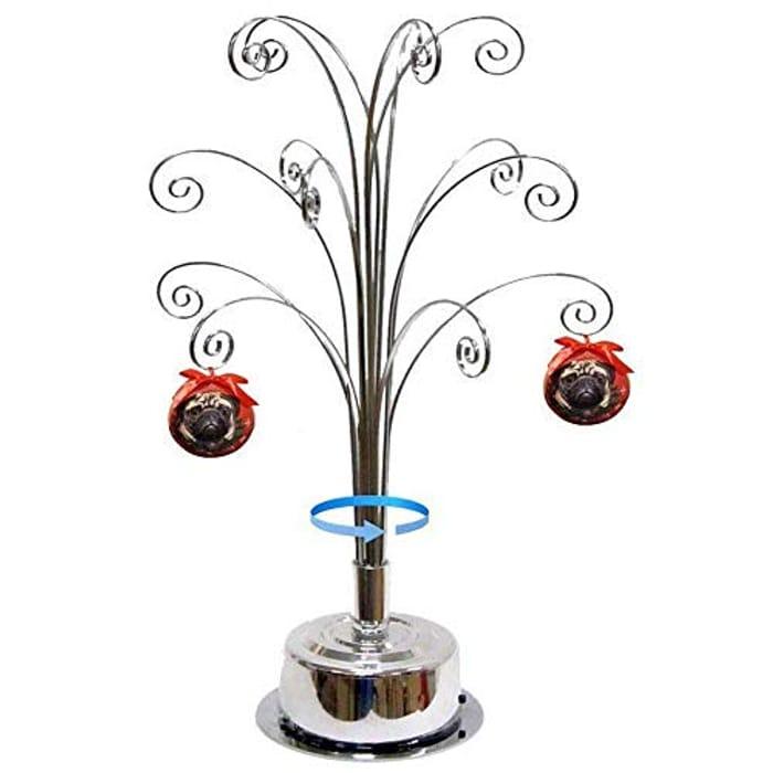 HOHIYA Ornament Display Stand Rotating Tree Christmas Bauble 16.75inch Silver