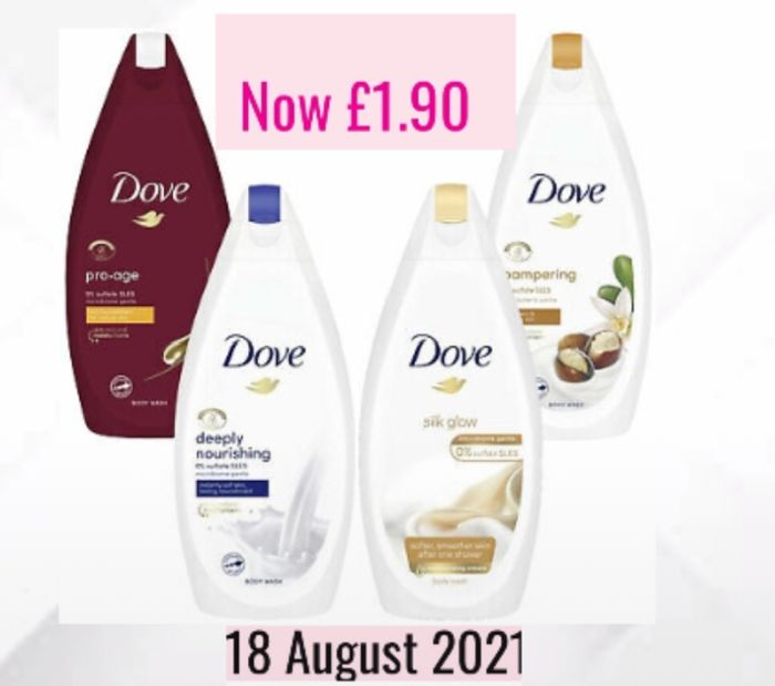 Now £1.90 on Selected Dove 450ml Shower Gel Members Daily Deal