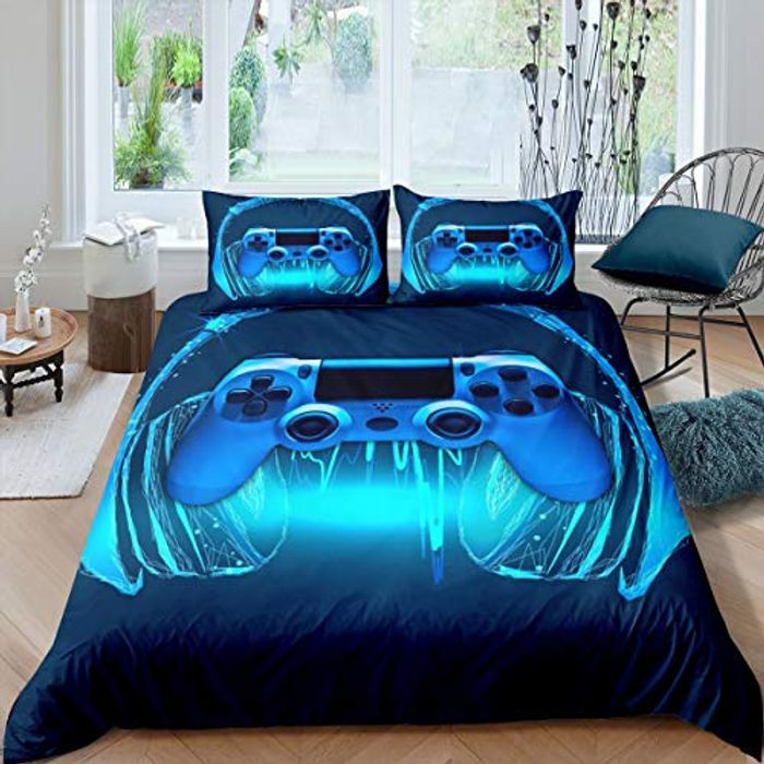 Games Comforter Single Navy Blue Cover Bedding Set - Only £13.00!