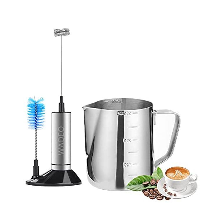 Deal Stack - Coffee Milk Jug12 Oz & Battery Operated Milk Frother for Coffee