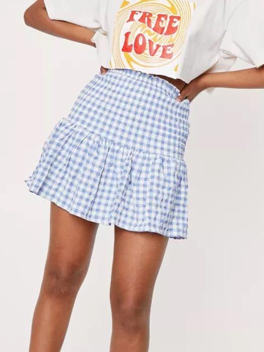 NastyGal Shirred Gingham Print Mini Skirt in Pink or Blue