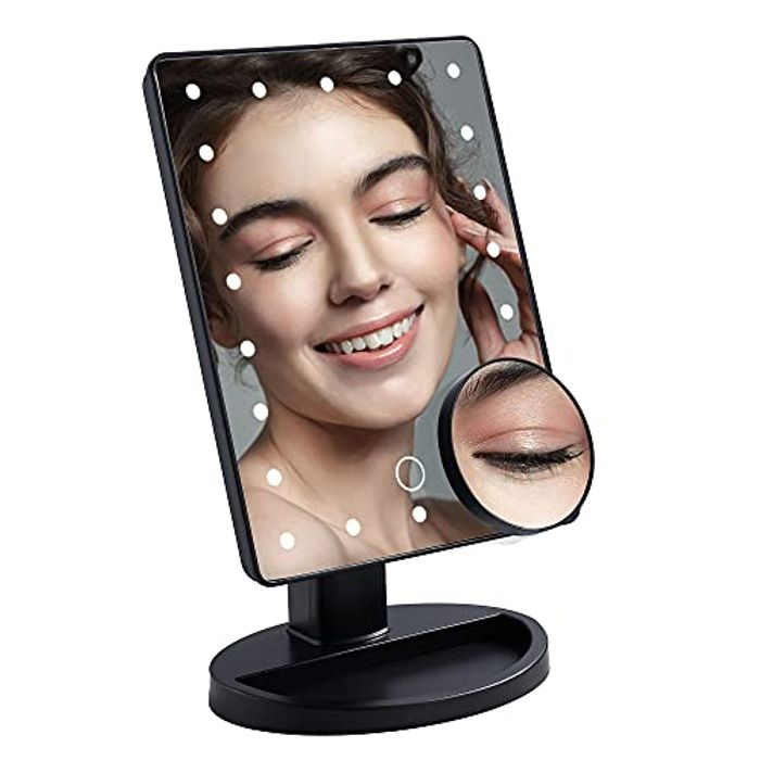 DUFU Makeup Mirror with 10 x Magnification + 22 LED Lights - USB/Battery Powered