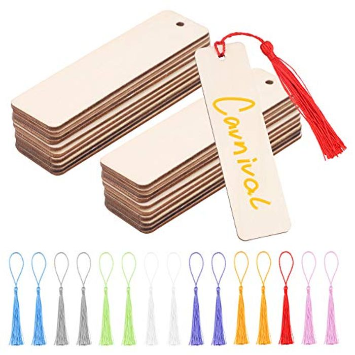 64 Wood Blank Bookmarks,32 DIY Wooden Craft Bookmark,32 Multiple Colour Tassel