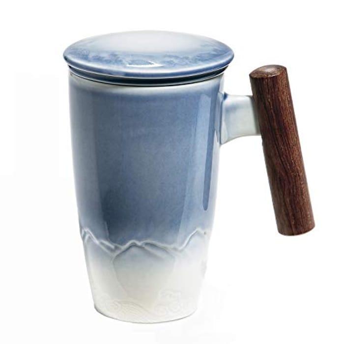 Ceramic Tea Cup with Lid/Tea Infuser, Easy Clean Inside, (Blue 400ml ):