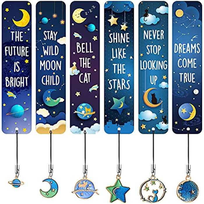 12 Pieces Cat Moon Star Celestial Theme Bookmarks