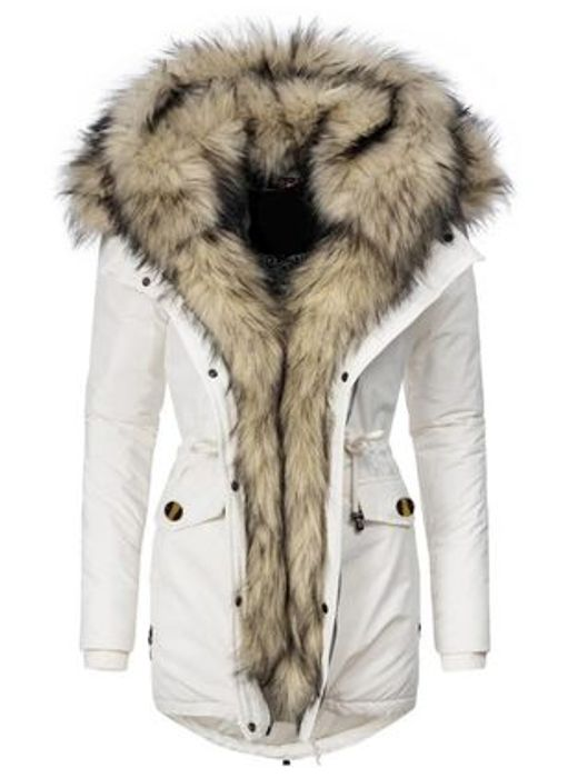 Long Sleeve Hooded Zipper Pockets Removable Fur Collar Parkas