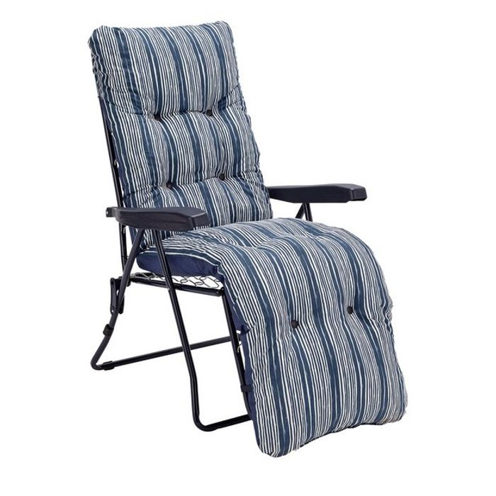 Argos Home Metal Folding Relaxer Chair - Coastal Stripe