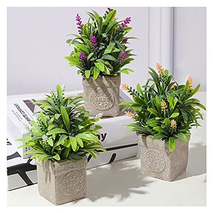 FOREDOO 3 Pack Faux-Lavender Artificial Plants