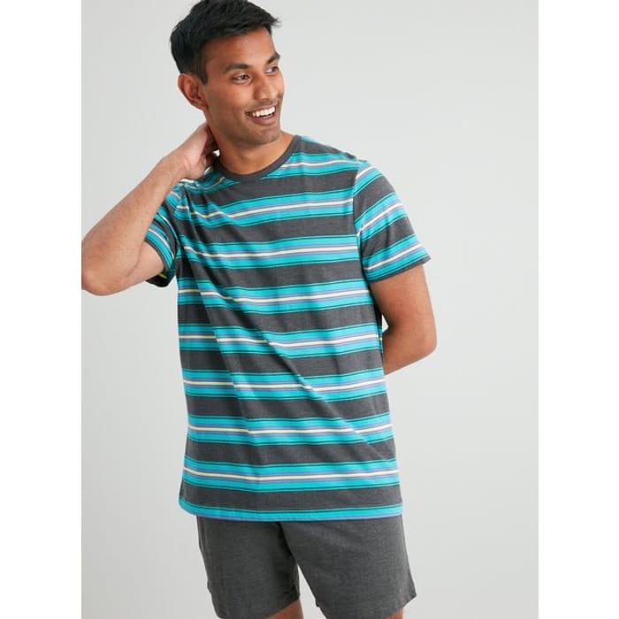 Charcoal & Teal Stripe Shortie Pyjama Set
