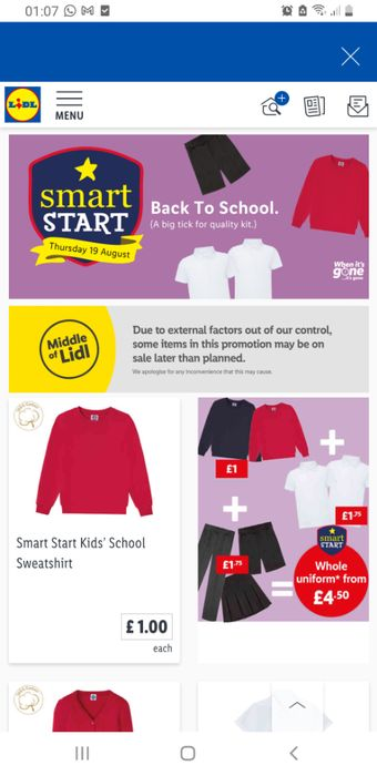 Lidl School Uniform in Store NOW, Prices from £1