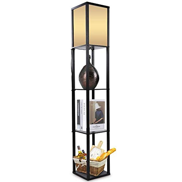 Oak Wooden Floor Lamp with 3 Tiers (Also in White)