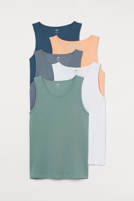 Men's/Unisex 5 Pack Regular Fit Vest Tops
