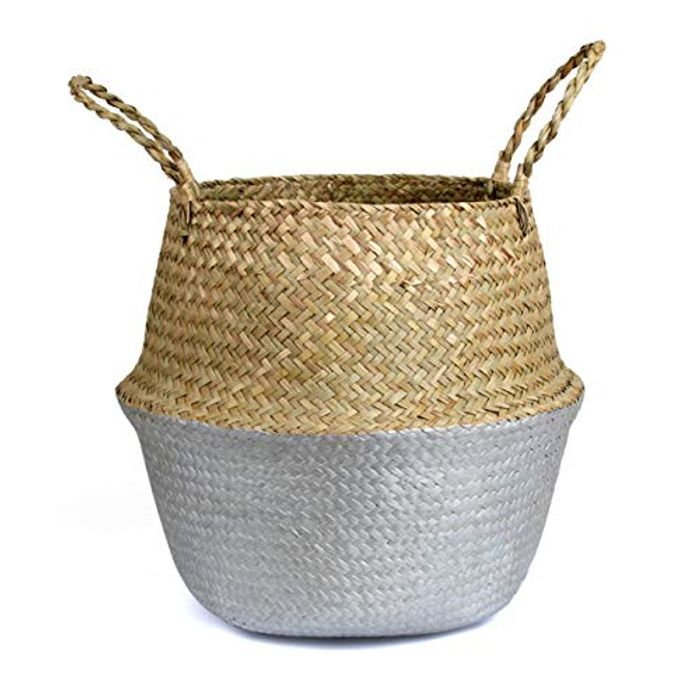 BlueMake Woven Seagrass Belly Basket for StorageSmall