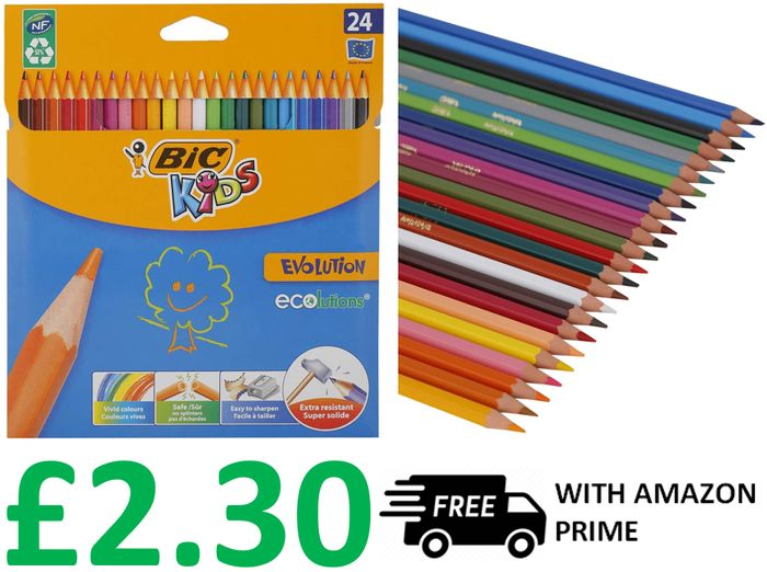 Cheap BIC KIDS Colouring Pencils, Pack of 24 - Only £2.30!