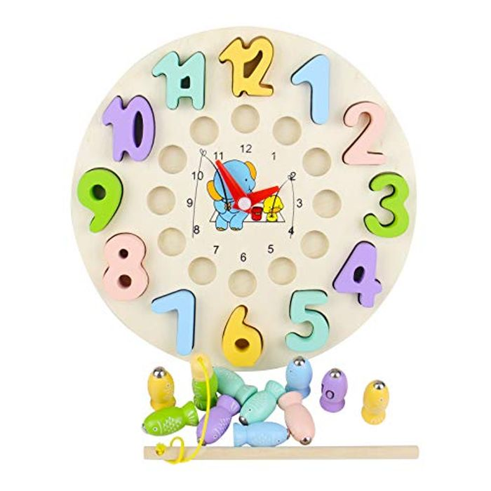 4-in-1 Wooden Magnetic Fishing Game Learning Clock