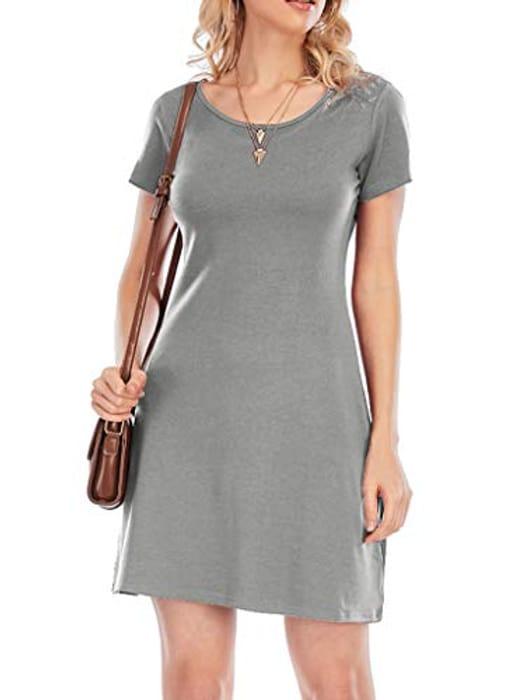 Women's Summer Casual Tshirt round Neck Short Sleeve Mini Dress - Only £2.90!