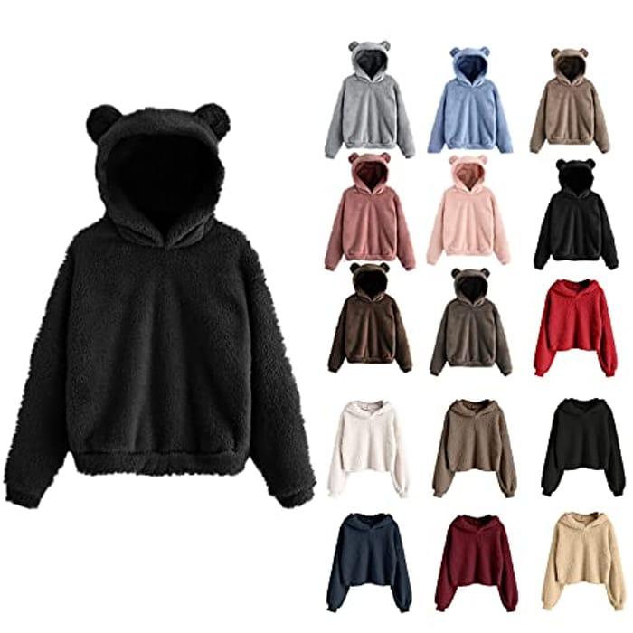 Teddy Fleece Womens Casual Cute Bear Ears Hoodie - Only £9.86!