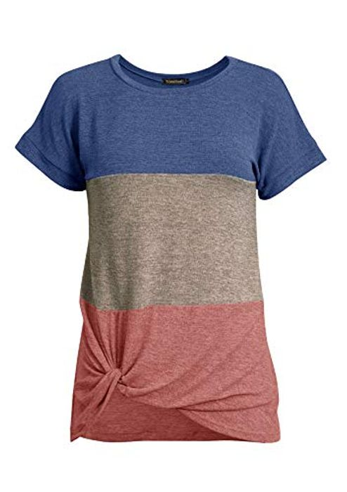 Women Striped Short Sleeve round Neck Color Block Splice Tops - Only £2.99!