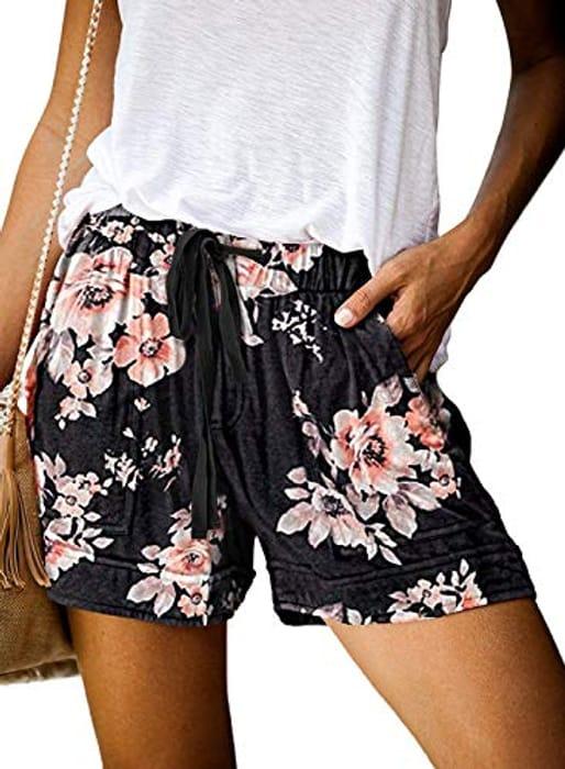 Omen's Shorts Summer Casual Drawstring Elastic Waist Linen Shorts Beach Shorts