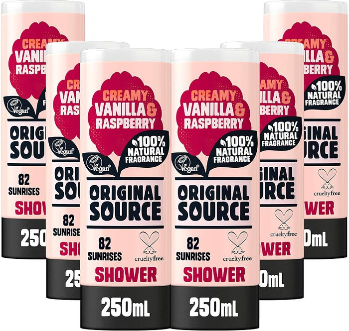 Original Source Vanilla & Raspberry Shower Gel 250ml - Pack of 6 (+Other Scents)