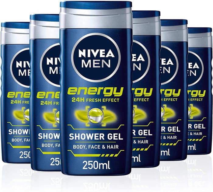 NIVEA Men Energy All-in-1 Shower Gel - Pack of 6 (£5.13 S&S)