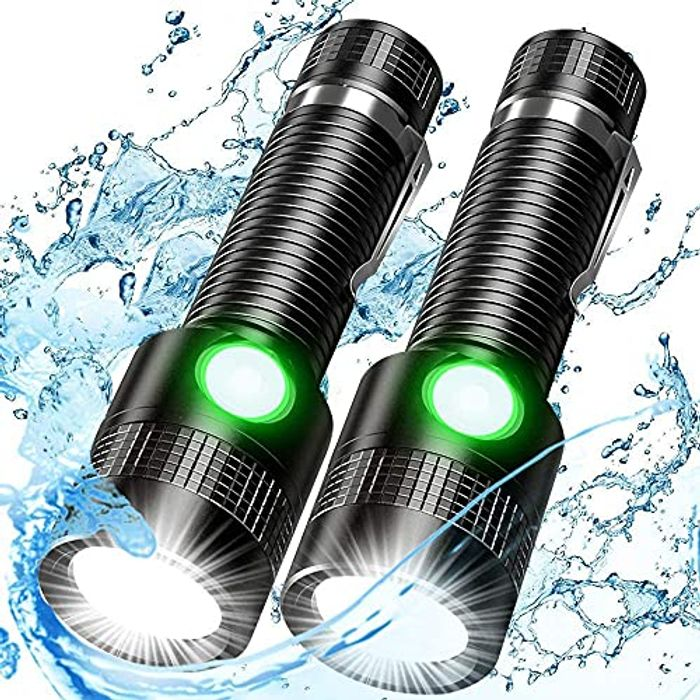 2 Pack USB Rechargeable Waterproof Torches