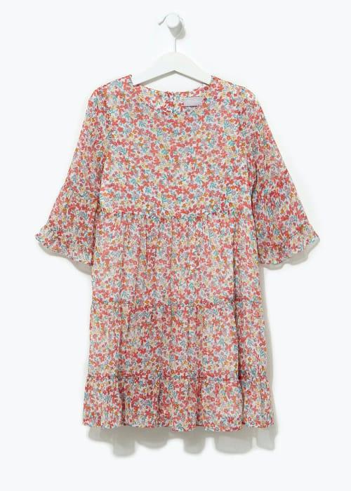 Girls Floral Flute Sleeve Dress (4-13yrs)