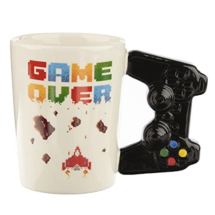 'Game Over' Ceramic Game Controller Shaped Handle Mug