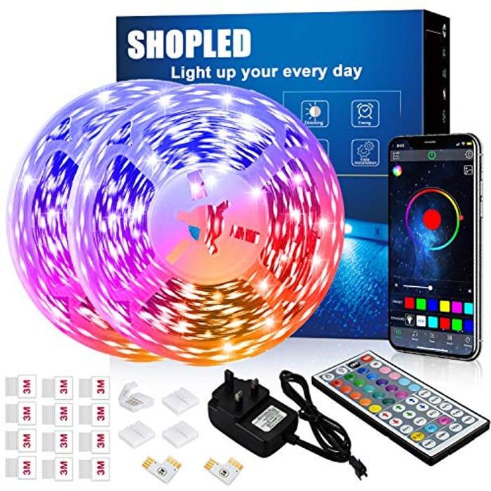 12m Bluetooth LED Strip Lights with Music Sync + 44 Key Remote