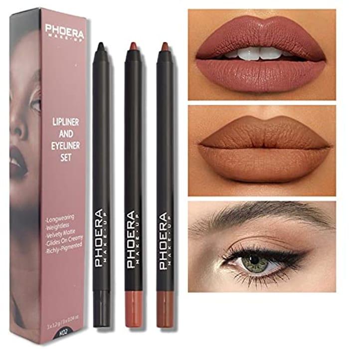 PHOERA 3Pcs Lip and Eye Liner Set