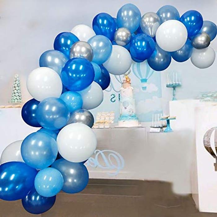 Balloon Garland Kit Arch 117 Pcs Blue Balloon White Silver Balloons
