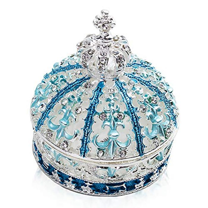 Hinged Crown Trinket Box Collectible Hand-Painted Crystal Glass Jewelry Holder