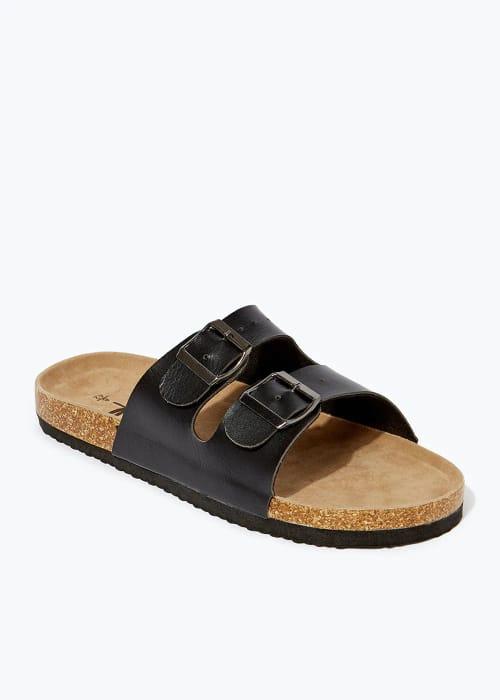 *HALF PRICE* Black Faux Leather Sandals