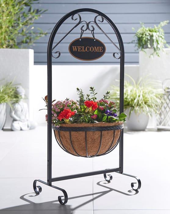 "14"" Saxon Basket Welcome Planter"