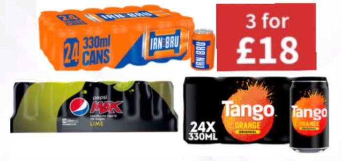 CHEAP! 72 IRN-BRU, Tango Orange, or Pepsi Max Lime Cans X 3 at ASDA
