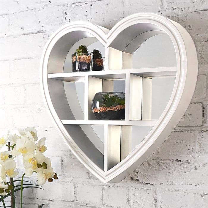 Heart Mirror Shelf White