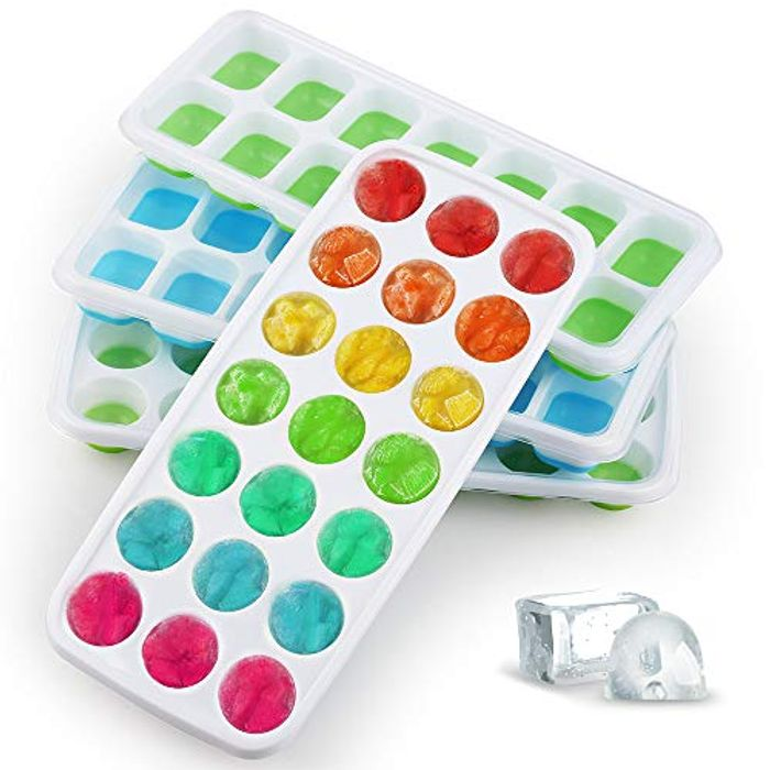 Packs 4 Ice Cube Trays with Lid Silicone Reusable , BPA