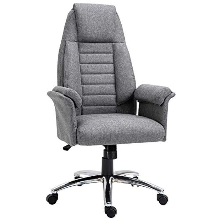 High Back Office Chair Home Computer Linen-Feel Fabric