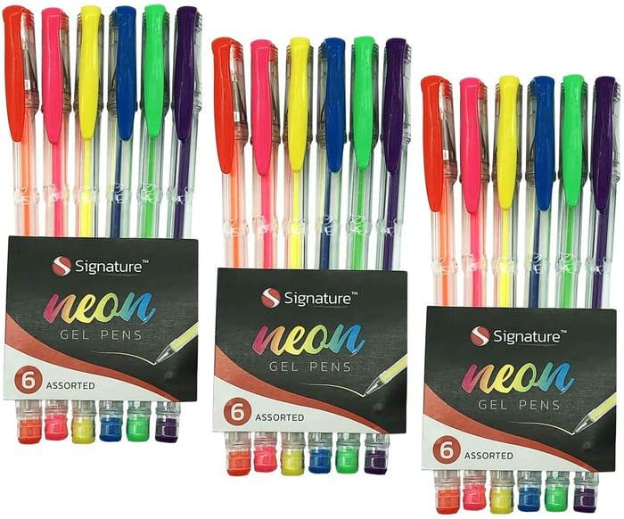 18pk Neon Gel Pens Set - 3 X 6pk Colour Ink Pen Set - Free Delivery