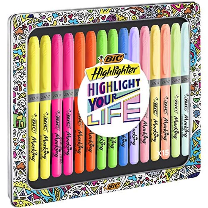 Assorted Intense and Pastel Colours, Metal Gift Box of 15