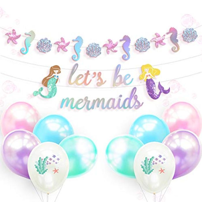 DEAL STACK - NICROLANDEE Mermaid Birthday Party Decorations + 5% Coupon