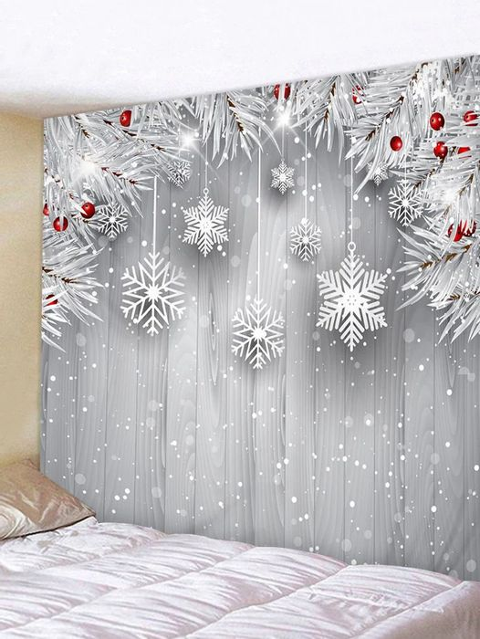 Christmas Tree Branch Snowflake Print Wall Tapestry - Now £12.37!