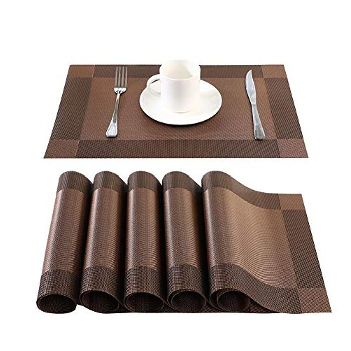 BaoWnylz Set of 6 Heat Resistant and Anti Skid Place Mat and Coaster Set